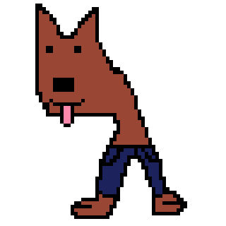 Awesome Pixel Art Of A Dog Wearing Trousers